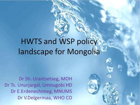 HWTS and WSP policy landscape for Mongolia