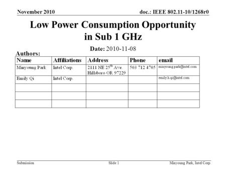 Doc.: IEEE 802.11-10/1268r0 Submission November 2010 Minyoung Park, Intel Corp.Slide 1 Low Power Consumption Opportunity in Sub 1 GHz Date: 2010-11-08.