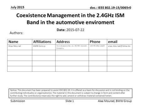 Submission doc.: IEEE 802.19-15/0065r0 July 2015 Alaa Mourad, BMW GroupSlide 1 Coexistence Management in the 2.4GHz ISM Band in the automotive enviroment.