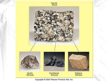 Analogy Minerals : the ingredients Tomatoes, ground beef, pasta, bread, lettuce Rocks : the spaghetti dinner.