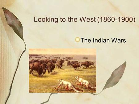 Looking to the West (1860-1900) The Indian Wars.