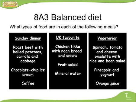 What types of food are in each of the following meals? Sunday dinner Roast beef with boiled potatoes, carrots and cabbage Chocolate-chip ice cream Coffee.