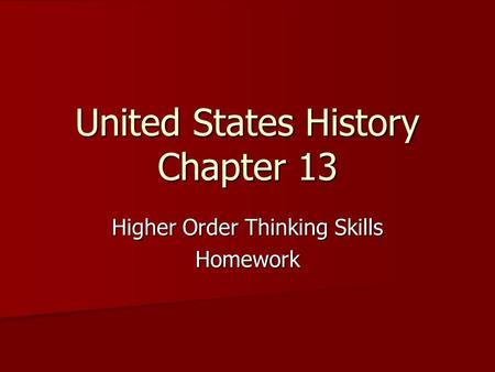 United States History Chapter 13