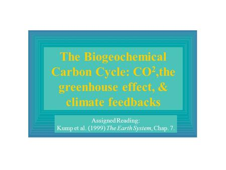 The Biogeochemical Carbon Cycle: CO 2,the greenhouse effect, & climate feedbacks Assigned Reading: Kump et al. (1999) The Earth System, Chap. 7.