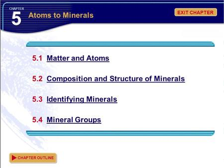 5 Atoms to Minerals 5.1 Matter and Atoms