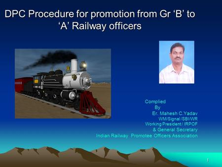 DPC Procedure for promotion from Gr 'B' to 'A' Railway officers