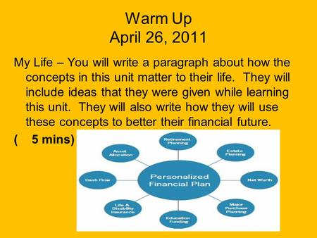 Warm Up April 26, 2011 My Life – You will write a paragraph about how the concepts in this unit matter to their life. They will include ideas that they.