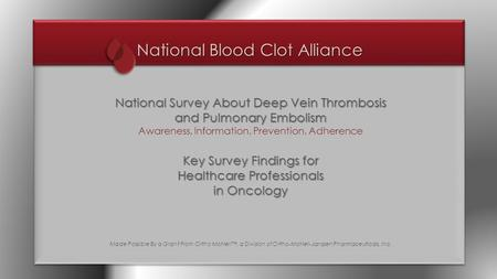 National Blood Clot Alliance National Survey About Deep Vein Thrombosis and Pulmonary Embolism Awareness, Information, Prevention, Adherence Key Survey.