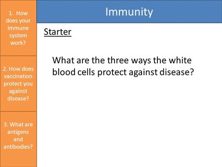 Starter What are the three ways the white blood cells protect against disease? 1. How does your immune system work? Immunity 3. What are antigens and antibodies?