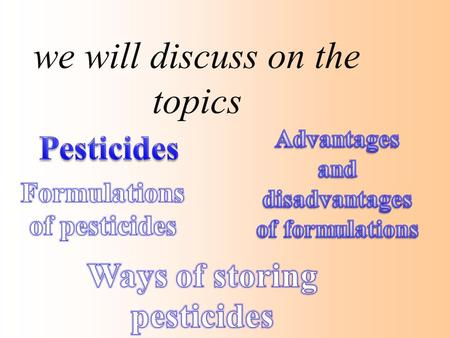 We will discuss on the topics. PESTICIDES A pesticide is any chemical that is used to control pests. PISCICIDES INSECTICIDES FUNGICIDES RODENTICIDES HERBICIDES.
