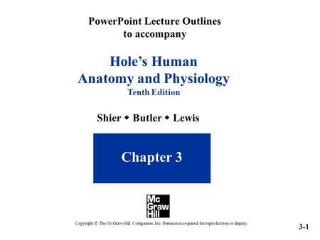 PowerPoint Lecture Outlines to accompany Hole's Human Anatomy and Physiology Tenth Edition Chapter 3 Shier  Butler  Lewis 3-1 Copyright © The McGraw-Hill.