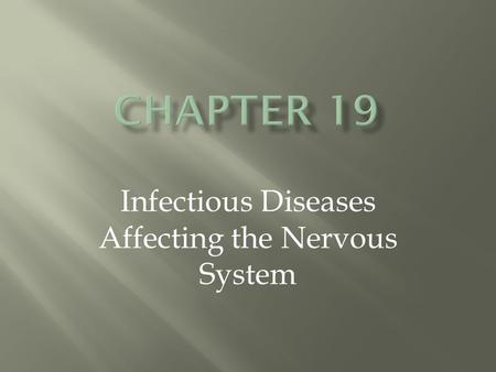 Infectious Diseases Affecting the Nervous System.