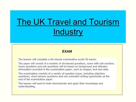 The UK Travel and Tourism Industry EXAM. Learning Aims and Content (A)