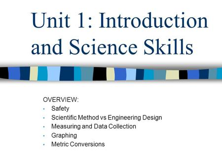 Unit 1: Introduction and Science Skills OVERVIEW: Safety Scientific Method vs Engineering Design Measuring and Data Collection Graphing Metric Conversions.