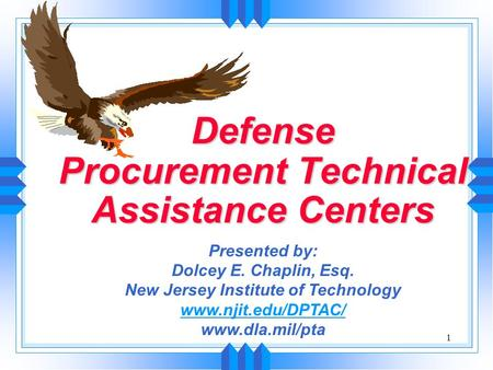 1 Defense Procurement Technical Assistance Centers Presented by: Dolcey E. Chaplin, Esq. New Jersey Institute of Technology www.njit.edu/DPTAC/ www.dla.mil/pta.