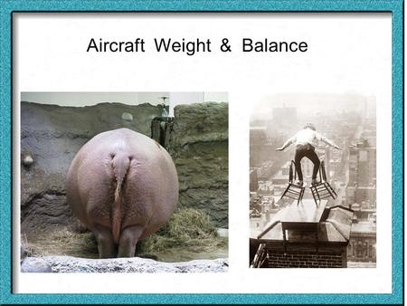 Aircraft Weight & Balance. Weight & balance is important for both the saftey of the aircraft as well as it effiency (fuel consumption, & manauvorability).