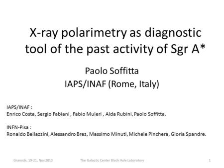 X-ray polarimetry as diagnostic tool of the past activity of Sgr A* Paolo Soffitta IAPS/INAF (Rome, Italy) Granada, 19-21, Nov.2013The Galactic Center.