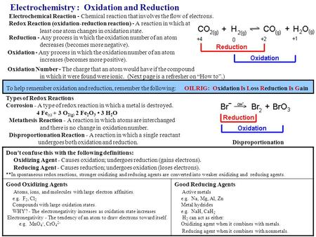 Electrochemistry : Oxidation and Reduction Electrochemical Reaction - Chemical reaction that involves the flow of electrons. Redox Reaction (oxidation-reduction.