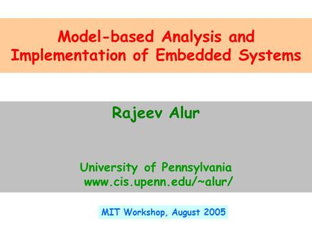 Model-based Analysis and Implementation of Embedded Systems