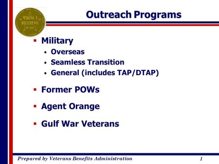Prepared by Veterans Benefits Administration 1 Outreach Programs  Military Overseas Seamless Transition General (includes TAP/DTAP)  Former POWs  Agent.