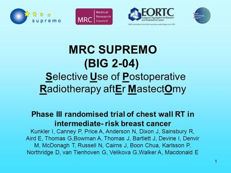 1 MRC SUPREMO (BIG 2-04) Selective Use of Postoperative Radiotherapy aftEr MastectOmy Phase III randomised trial of chest wall RT in intermediate- risk.
