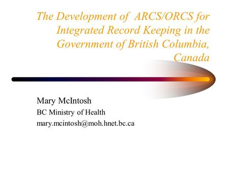 Mary McIntosh BC Ministry of Health