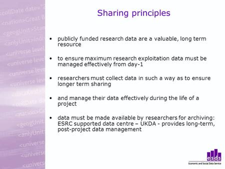 Sharing principles publicly funded research data are a valuable, long term resource to ensure maximum research exploitation data must be managed effectively.