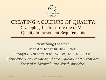 CREATING A CULTURE OF QUALITY: Developing the Infrastructure to Meet Quality Improvement Requirements Identifying Facilities That Are Most At-Risk: Part.