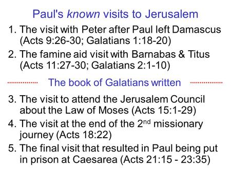 Paul's known visits to Jerusalem 1. The visit with Peter after Paul left Damascus (Acts 9:26-30; Galatians 1:18-20) 2. The famine aid visit with Barnabas.