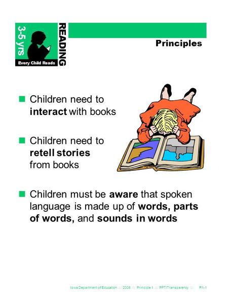 Iowa Department of Education ::: 2006 ::: Principle 1 ::: PPT/Transparency :::R1-1 Principles Children need to interact with books Children need to retell.