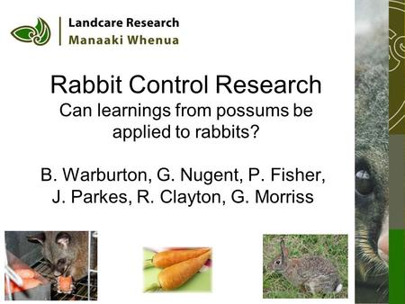 Rabbit Control Research Can learnings from possums be applied to rabbits? B. Warburton, G. Nugent, P. Fisher, J. Parkes, R. Clayton, G. Morriss.