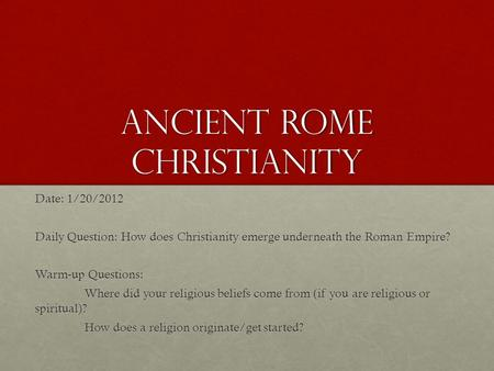 Ancient Rome Christianity