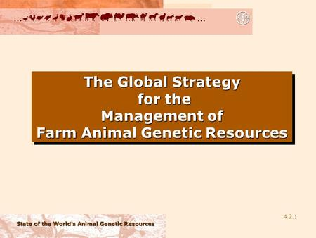 State of the World's Animal Genetic Resources 4.2.1 The Global Strategy for the Management of Farm Animal Genetic Resources.