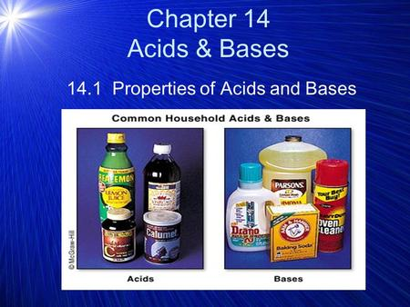 14.1 Properties of Acids and Bases