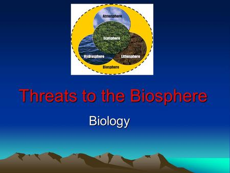 Threats to the Biosphere Biology. Biosphere The outer portion of Earth where all living organisms exist- deepest ocean trench up into atmosphere.