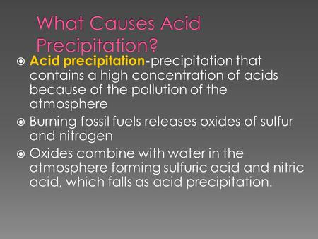 What Causes Acid Precipitation?
