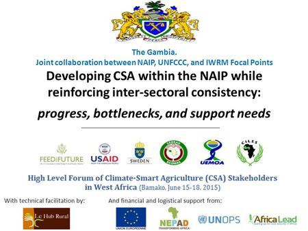The Gambia. Joint collaboration between NAIP, UNFCCC, and IWRM Focal Points Developing CSA within the NAIP while reinforcing inter-sectoral consistency: