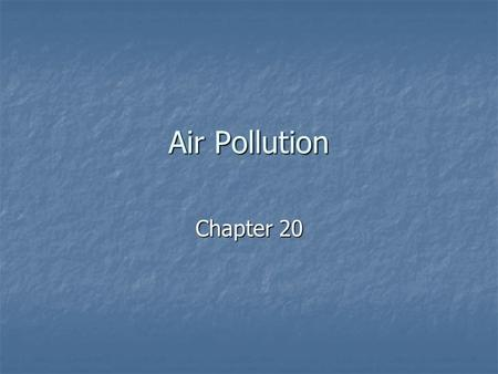 Air Pollution Chapter 20. Facts about Air ____% is Nitrogen (N 2 ) ____% is Nitrogen (N 2 ) ____% is Oxygen (O 2 ) ____% is Oxygen (O 2 ) ____% is Argon.
