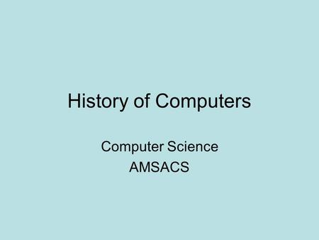 Computer Science AMSACS