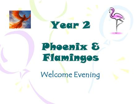 Year 2 Phoenix & Flamingos Welcome Evening. Year 2 Staff Phoenix ~ Miss Kitchener Class Teacher Flamingos ~ Mrs Tatford Class Teacher Miss Crowhurst Miss.