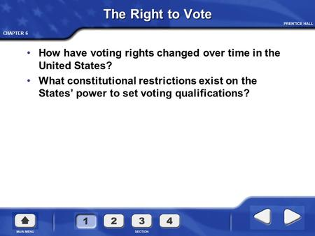 The Right to Vote How have voting rights changed over time in the United States? What constitutional restrictions exist on the States' power to set voting.