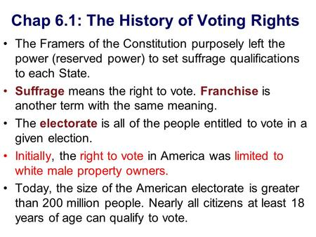 Chap 6.1: The History of Voting Rights