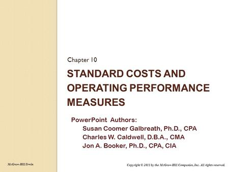 Standard Costs and Operating Performance Measures