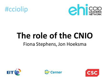 The role of the CNIO Fiona Stephens, Jon Hoeksma #cciolip.