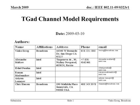 Doc.: IEEE 802.11-09/0323r1 Submission March 2009 Vinko Erceg, BroadcomSlide 1 TGad Channel Model Requirements Date: 2009-03-10 Authors: