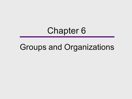 Chapter 6 Groups and Organizations. Chapter Outline  Types of Groups  Social Influence in Groups  Formal Organizations and Bureaucracies  Diversity: