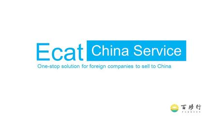 China Service Ecat One-stop solution for foreign companies to sell to China.
