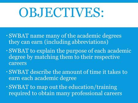 OBJECTIVES:  SWBAT name many of the academic degrees they can earn (including abbreviations)  SWBAT to explain the purpose of each academic degree by.