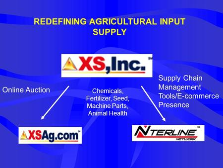 REDEFINING AGRICULTURAL INPUT SUPPLY Online Auction Chemicals, Fertilizer, Seed, Machine Parts, Animal Health Supply Chain Management Tools/E-commerce.
