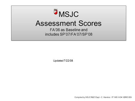 MSJC Assessment Scores FA'06 as Baseline and includes SP'07/FA'07/SP'08 Updated 7/22/08 Compiled by MSJC R&D Dept.- C. Hawkins / IT MIS WO# XBRO.BSI.
